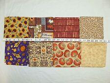 Lot of 8 Half Yards Autumn Sunflower Pumpkin Quilt Craft Quality Cotton Fabric