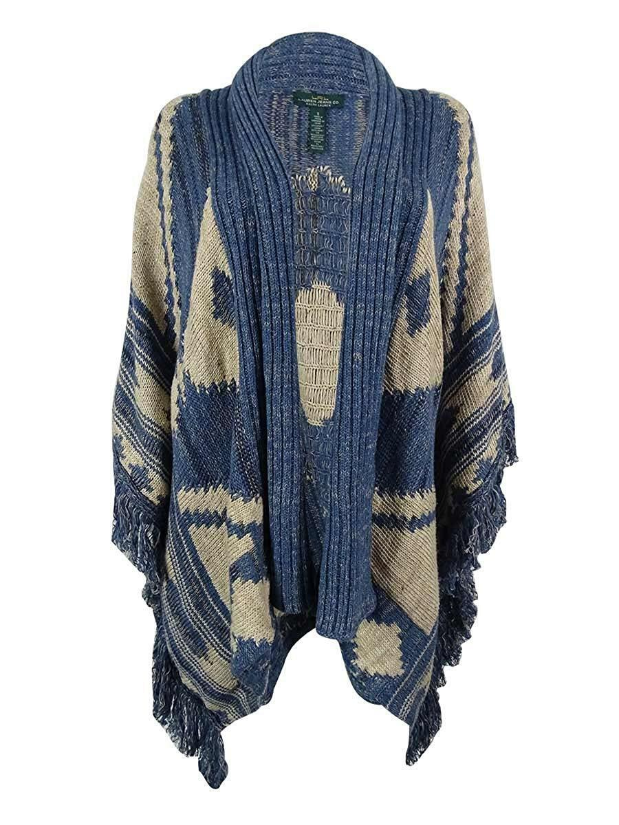 Ralph Lauren Womens Open Front Fringe Trim Cardigan Sweater