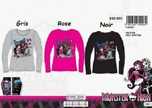 8-ans-NOIR-T-shirt-m-longues-Monster-High-NEUF-l-039-unite-100-coton