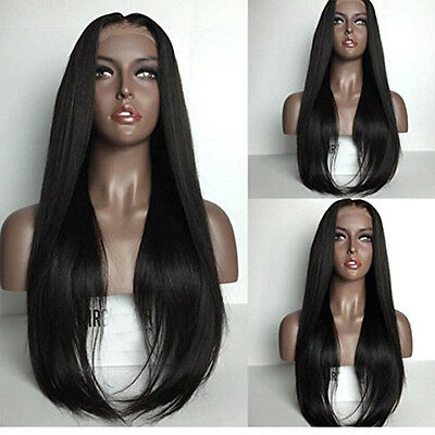 Jet Black Hair Wig Long Silky Straight Synthetic Lace Front Wig Japan Fiber Hair