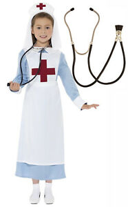 Girls-Childrens-Vintage-War-Nurse-Costume-30s-40s-50s-Stethoscope-Age-4-14-Teen
