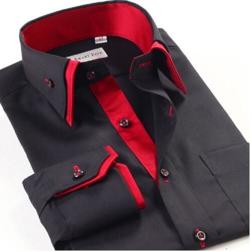 Mens Casual Double Collar Slim Fit Formal Shirt Italian Design Long Sleeve DC07