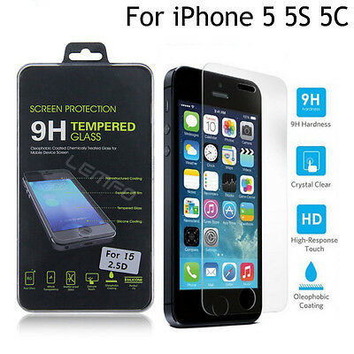 Ultra Tempered-Glass Film Screen Protector Cover Guard for Apple iPhone 5s/5c SE