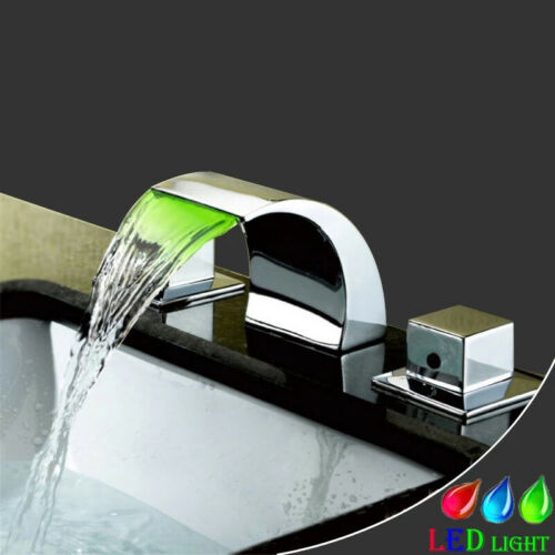 Chrome 8/'/' Widespread LED Waterfall Bathroom Vanity Sink Faucet Mixer Deck Mount