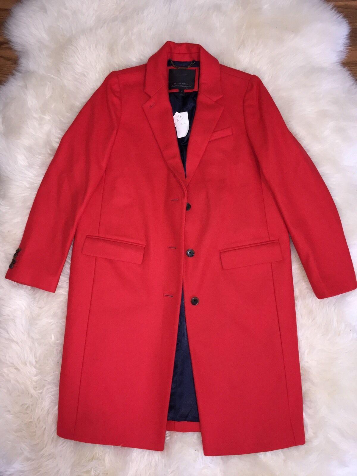 JCrew Wool Melton Topcoat Coat  B3906  Brilliant Flame Red 10
