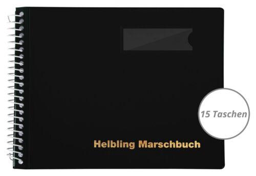 Schwarzes Marschbuch im Querformat von Helbling mit 15 Taschen für Blaskapellen