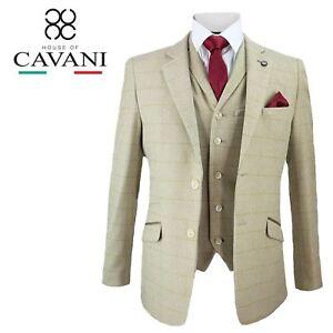 Para-Hombre-Cavani-Beige-Tweed-Chaleco-Pantalones-3-piezas-traje-se-vende-por-separado