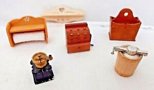 Dollhouse-Lot-6-Pieces-Accessories-Butter-Churn-I-C-Maker-Mixed-Vintage