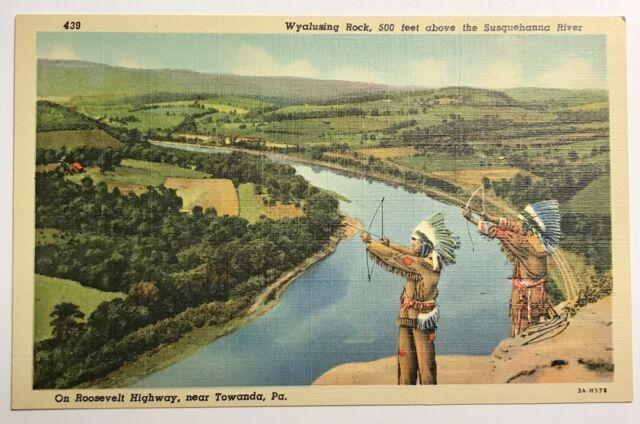 Vintage Postcard Wyalusing Rock Susquehanna River Towanda