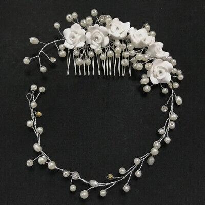 Aspirante Sposa Fiore Cristallo Strass Diamante Pettine Clip Per Capelli Perle Co-mostra Il Titolo Originale Alta Resilienza