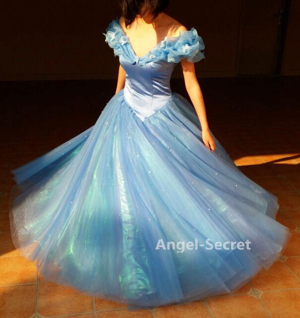 P143 Movies Cosplay Costume Cinderella 2015 Lily James as Ella blue dress