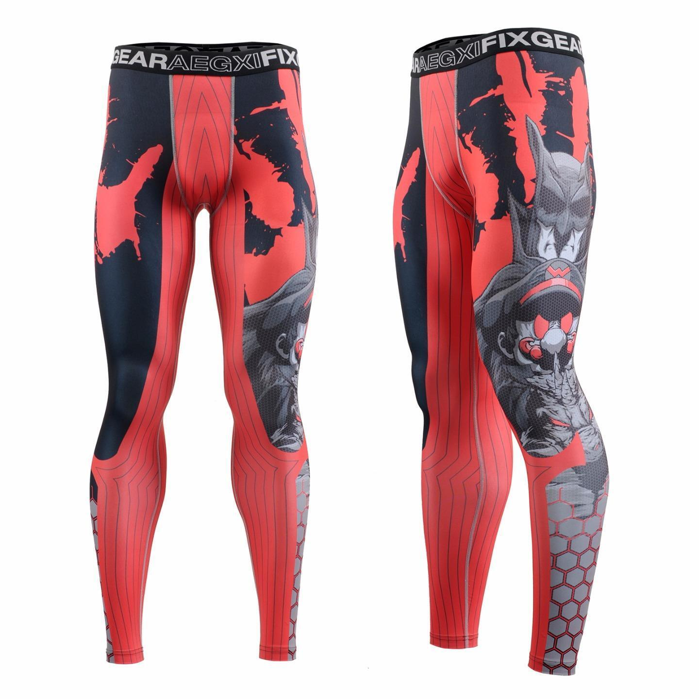 FIXGEAR FPL-H4 Compression Base Layer Tights with Wide Waistband, Crossfit, MMA