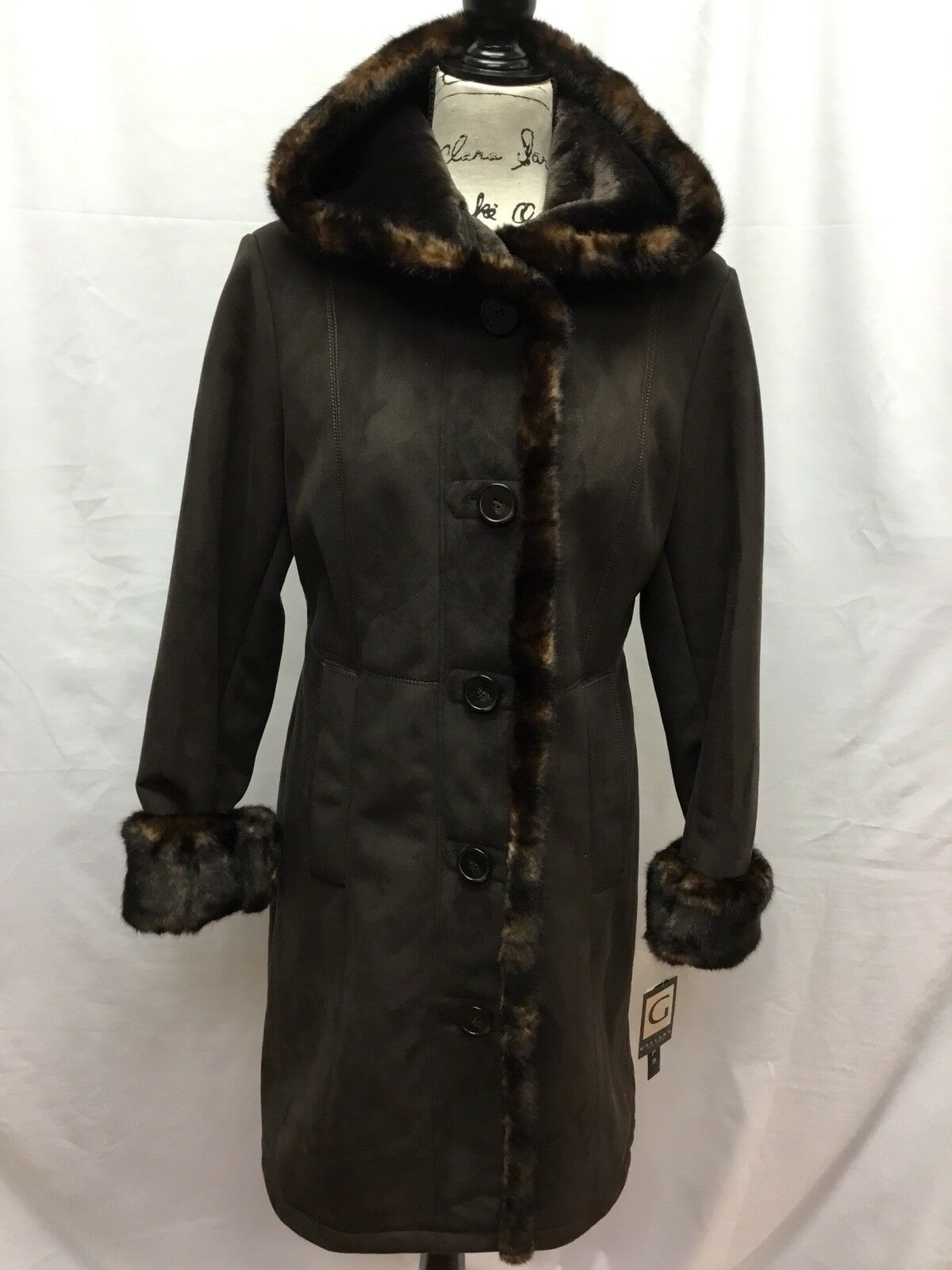 Gallery Petite Hooded Brown Faux Suede Coat with Faux Fur Lining SIZE S
