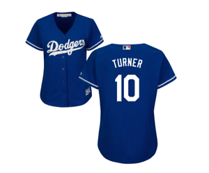 super popular 51f15 c9a88 Details about L.A. Dodgers Justin Turner #10 New Cool Base Women's Majestic  Jersey - BLUE