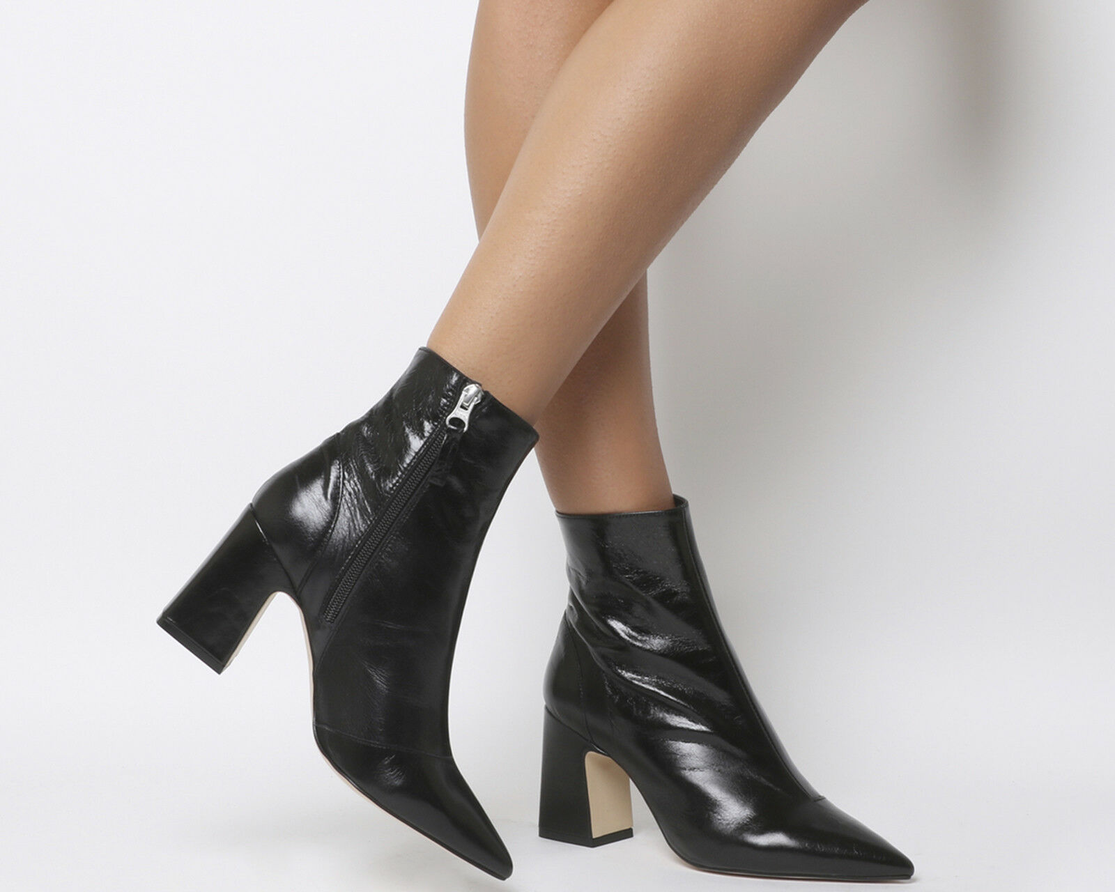 Womens Office Alto Pointed Block Heels Black Leather Boots