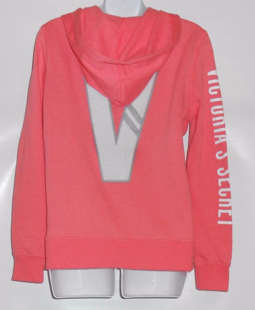Victoria's Secret Fleece Long Sleeve Full Zip Raised  V  Logo Hoodie Rosa XS NWT
