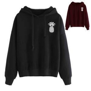 Pineapple-Printed-Women-Hooded-Sweatshirt-Long-Sleeve-Pullover-Tops-Blouse-Shirt