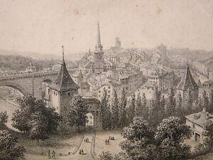 Ordonné Gravure Ancienne Suisse Alpes Berne Monogramme AgréAble Au Palais