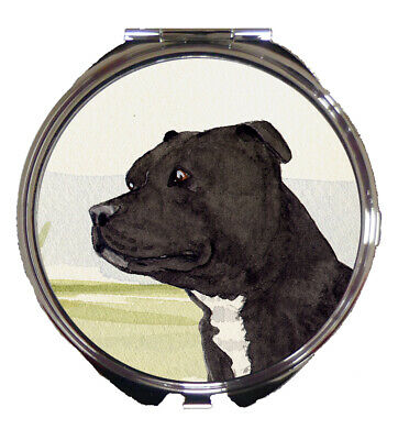 STAFFORDSHIRE BULL TERRIER DOG COMPACT MIRROR DESIGN SANDRA COEN ARTIST PRINT