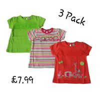 Baby Girls 3 Pack T-shirt Top Short Sleeve 1-24 Months NEW 100% COTTON