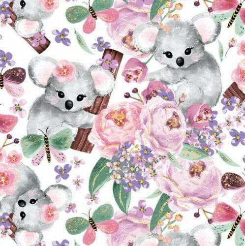 Sweet pink panda rose girl  bamboo 100/% cotton fabric printed width 160cm kids