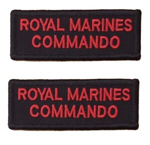 Pair of Red on Black Royal Marines Commando Rectangle HOOK Backed Flash / Titles
