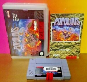 Populous-w-Manual-Part-of-Box-SNES-Super-Nintendo-Rare-AUTHENTIC-Tested-Game