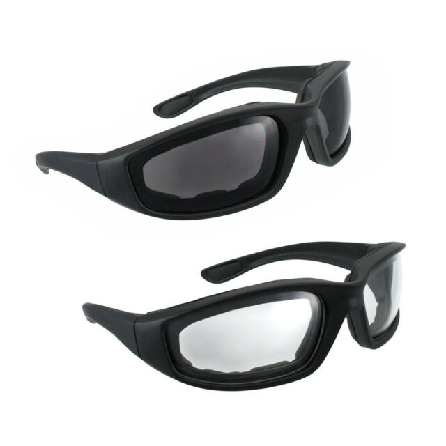 Clear /& Smoke C49 2 Pairs Motorcycle Padded Foam Driving Glasses Sunglasses