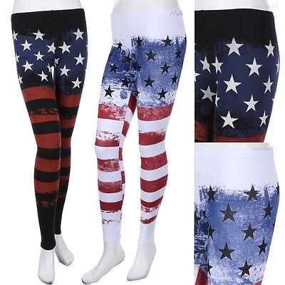 USA American Flag Print Cotton Leggings Skinny Pants Black White S M L