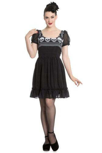 Nordic Dress Black Skull Tea XS S M L XL Vintage Rockabilly Hell Bunny