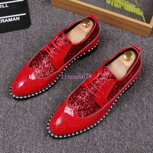 Mens Sequins Wing Tip Lace Up Gold Red Dress Formal Wedding Costume Shoes Brogue