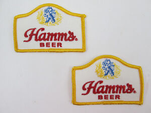 TWO-Hamms-Beer-Patches-3-1-4-x-2-1-4-Sew-On-vintage-Breweriana-Sealed-Back-NOS