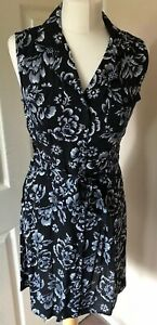 Floral-Sleeveless-Button-Front-Vintage-Inspired-Dress-Uk-10-Black-White-Grey