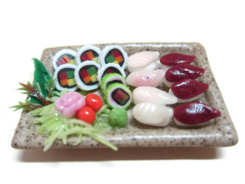 5 Sushi Japanese Food on Plate Dollhouse Miniatures Supply Deco Barbie