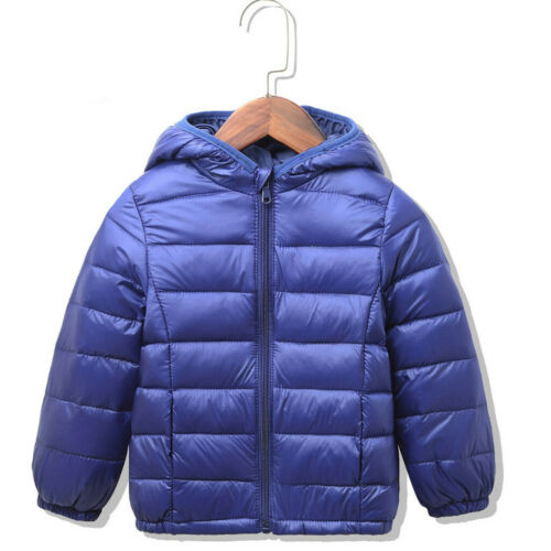 Toddler Baby Girls Boys Winter Solid Windproof Coat Hooded Warm Outwear Jacket