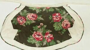 1960s-Half-Apron-Handmade-Black-Red-Green-Floral-Pocket-Kitchen-Linens-Vintage