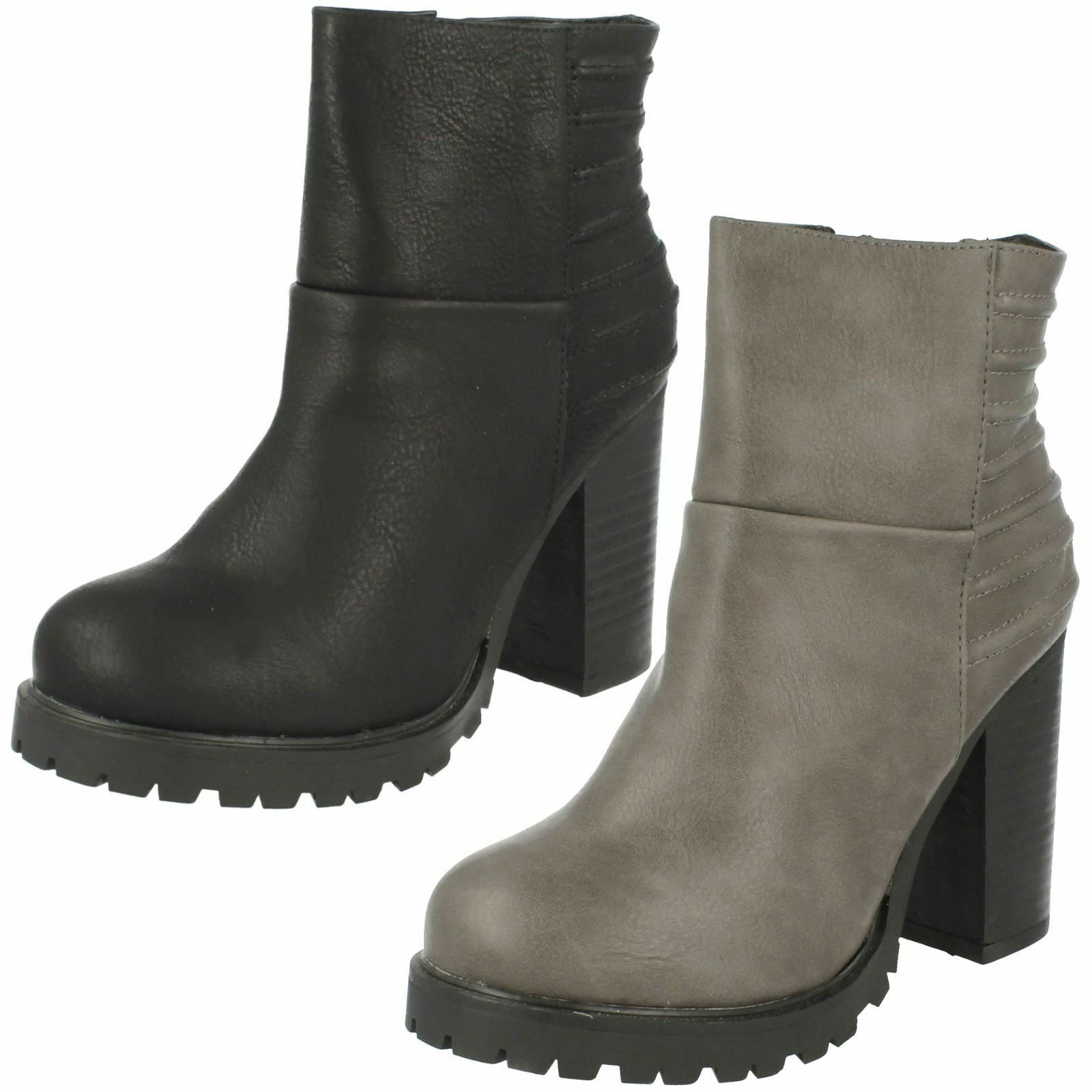 Ladies F50377 synthetic platform ankle boots by Spot On SALE  £19.99