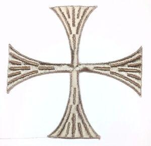 Vintage-Cuadrado-Cruz-6-034-Bordado-para-Coser-Beige-B-Maltes-Emblema-Parche-2PC