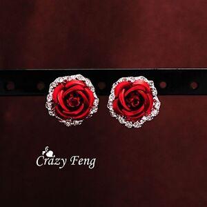 Luxurious-Resin-Rose-Shape-earrings-with-Crystal-Stud-Earrings-Women-039-s-Ear-Ring
