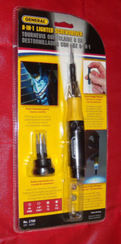 New General 8-IN-1 LIGHTED SCREWDRIVER Model # 1700 Cordless, LED UPC 26002