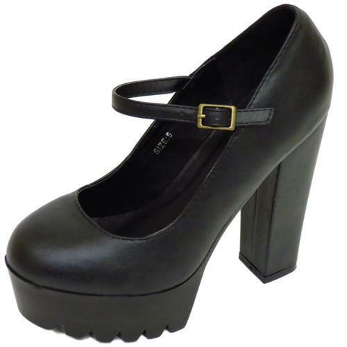 LADIES DOLCIS BLACK CHUNKY PLATFORM CLEATED ANKLE STRAP COURT SHOES SIZE 3-8