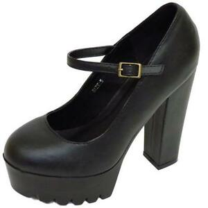 5c328ad132e Image is loading LADIES-DOLCIS-BLACK-CHUNKY-PLATFORM-CLEATED-ANKLE-STRAP-