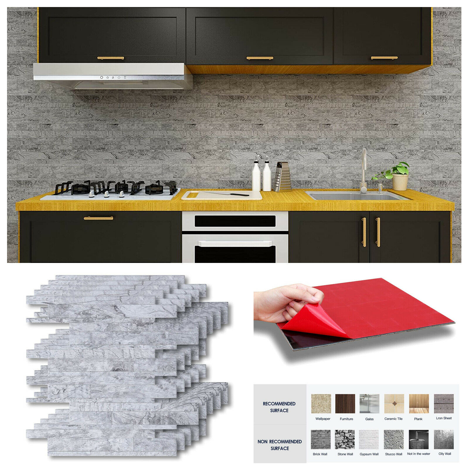 - White Grey Marble Mosaic Brick Peel And Stick Wall Tile Self
