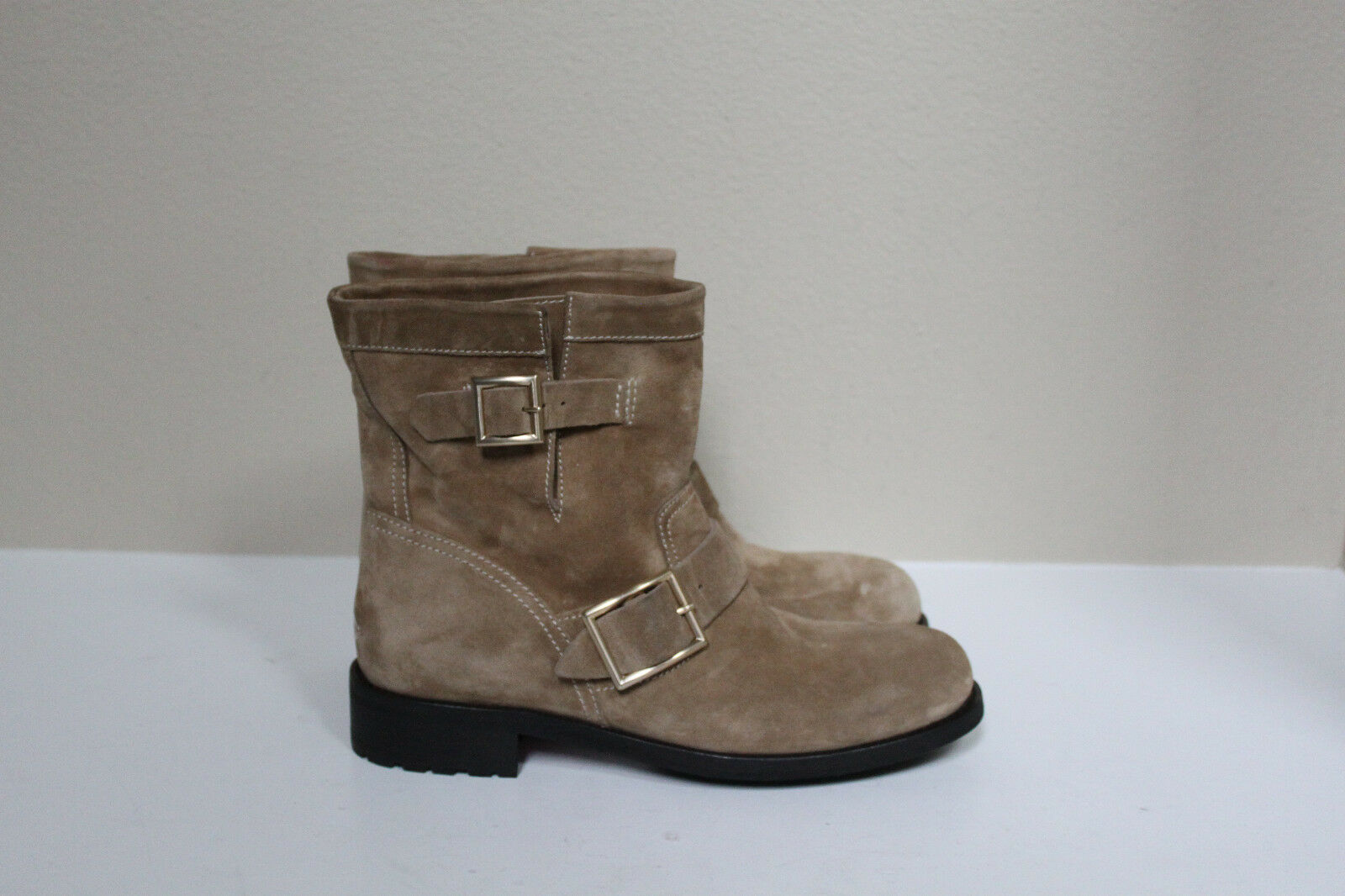 sz 9 / 39 Jimmy Choo Youth Taupe Suede Short Buckle Biker Ankle Boot Shoes