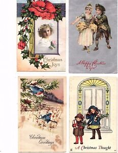 1920-039-s-Vintage-Christmas-Postcards-lot-of-4