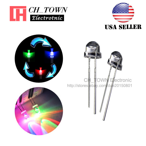 100pcs 5mm Straw Hat RGB Rainbow Slow Flashing Transparent 2pin LED Diodes USA for sale online