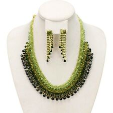 New Green Women Wedding Bridal Jewelry Crystal Rhinestone Necklace Earrings Set