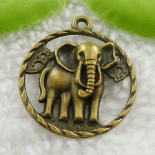 Free Ship 44 pcs bronze plated elephant pendant 32x28mm #740
