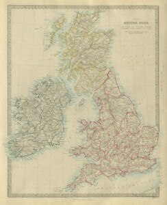 Map Of Uk Ireland Counties.Details About British Isles United Kingdom Ireland Counties Towns Rivers Sduk 1874 Map
