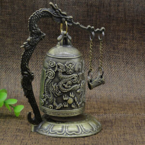 Retro Bronze Lock Dragon Carved Buddhist Bell Chinese Artware Exquisite Gift